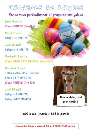 Stages vacances paques